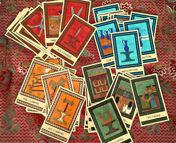 The Minor Arcana cards from The Minoan Tarot by Laura Perry
