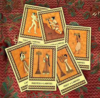 The Labryses court cards from the Minor Arcana of The Minoan Tarot by Laura Perry