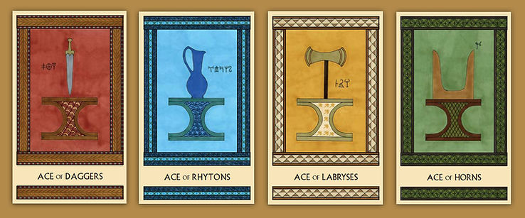 The four aces from the Minor Arcana of the Minoan Tarot by Laura Perry
