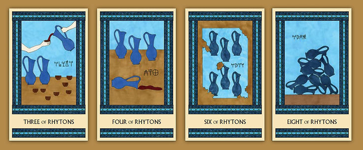 Four of the Rhytons cards from the Minor Arcana of The Minoan Tarot by Laura Perry