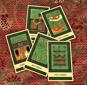 The suit of Horns from the Minor Arcana of The Minoan Tarot