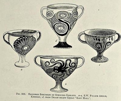 Minoan pedestal goblets drawing