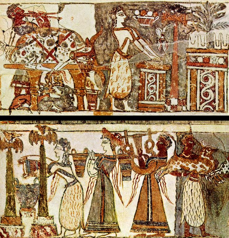 The Hagia Triada sarcophagus, showing a double flute and a lyre being played during a funeral rite