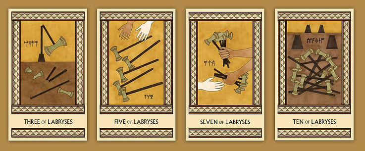 Four of the Labryses cards from the Minor Arcana of The Minoan Tarot by Laura Perry