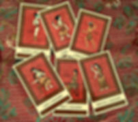 The Daggers court cards from the Minor Arcana of The Minoan Tarot by Laura Perry