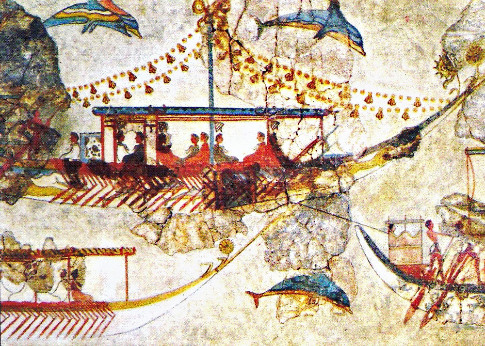Minoan ships and leaping dolphins in the Flotilla fresco from Akrotiri