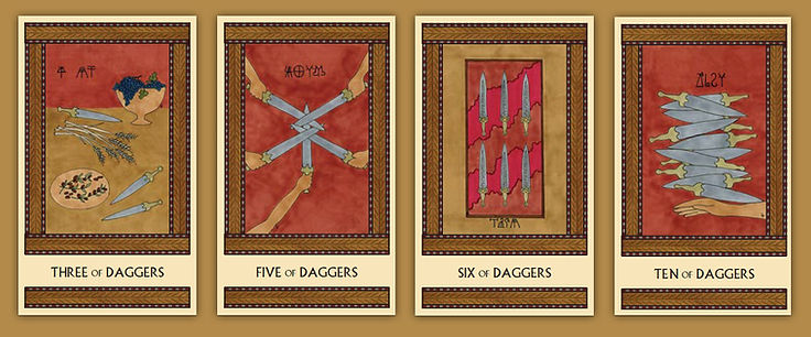 Four of the Daggers cards from the Minor Arcana of The Minoan Tarot by Laura Perry
