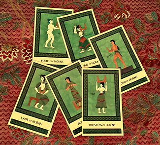 The Horns court cards from the Minor Arcana of The Minoan Tarot by Laura Perry