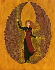 Freyja by Laura Perry: goddess in Nordic garb with sword and spindle, with cat and wings