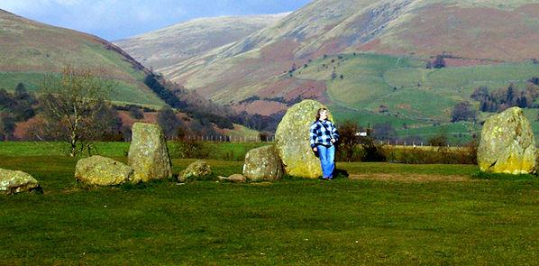 Laura Perry at Castlerigg stone circle, Cumbria, UK