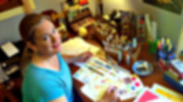 Pagan/Goddess author and artist Laura Perry in her studio