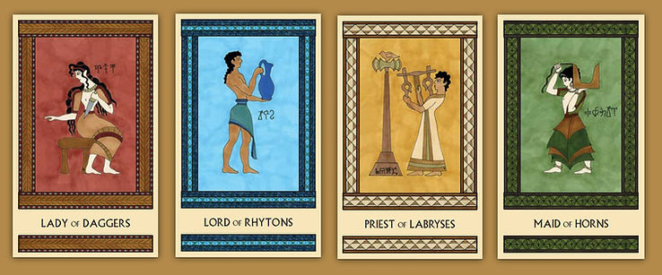 Minor Arcana cards from the Minoan Tarot by Laura Perry