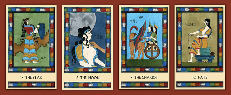 Major Arcana cards from The Minoan Tarot: The Star, The Moon, The Chariot, and Fate