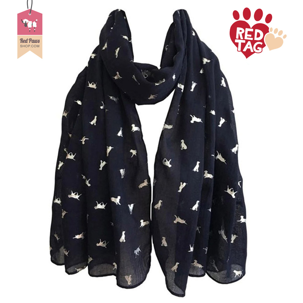 Navy Silver Dog Pop Scarf