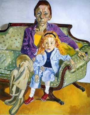 """Linda Nochlin and Daisy"" by Alice Neel"