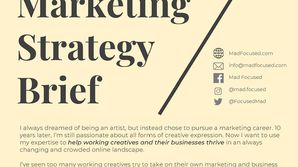 Mad Focused Marketing Strategy Brief