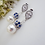 Thumbnail: Swarovski Pearl and Sapphire Blue Crystal Pave Wedding Earrings