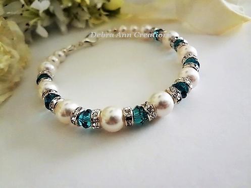 Pearl and Blue Zircon Crystal Bracelet BRTHBR1015
