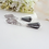 Thumbnail: Charcoal Grey Genuine Hematite Teardrop, Cubic Zirconia Earrings BRER4014