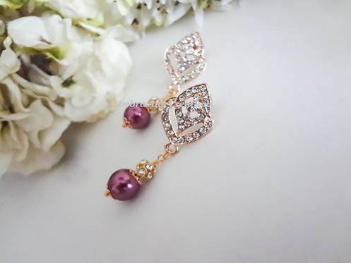 Pearl and Gold Crystal Wedding Earrings BRER4033
