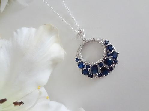 Sapphire Cubic Zirconia Pendant Necklace BRNK6014