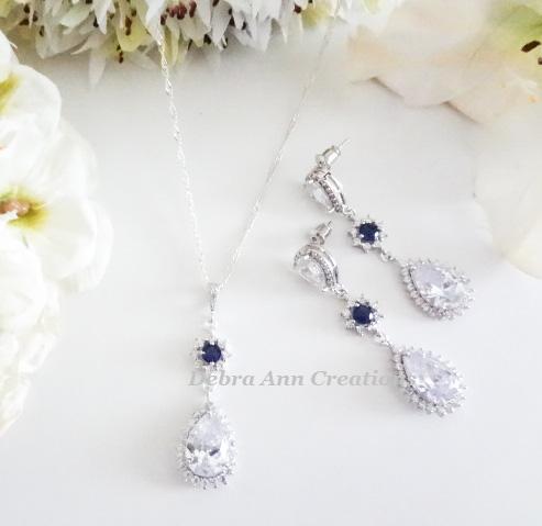 Cubic Zirconia Teardrop Pendant Wedding Necklace and Earrings Bridal Jewelry Set