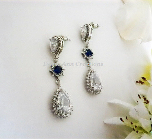 Sapphire and Clear Cubic Zirconia Long Teardrop Bridal Earrings