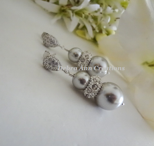 Pearl and Crystal Pave Stud Earrings BRER4046