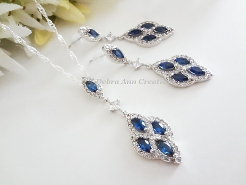 Sapphire Cubic Zirconia Teardrop Pendant Bridal Necklace and Earrings Set