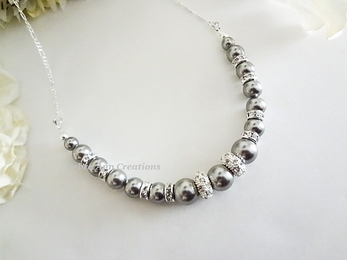 Pearl and Crystal Pave Rondelle Collar Necklace BRNK6005