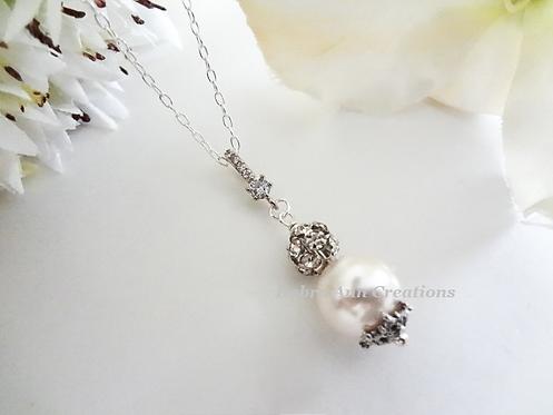 Swarovski Pearl and Crystal Pave Drop Wedding Necklace