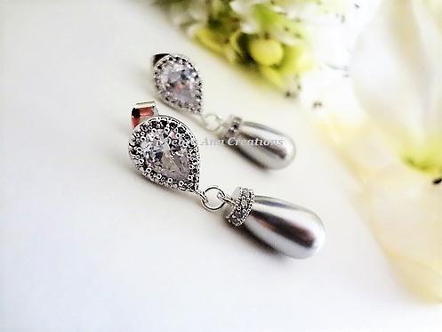 Swarovski Pearl and Cubic Zirconia TearDrop Bridal Earrings