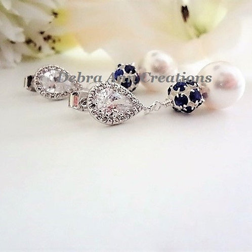 Swarovski Pearl and Sapphire Blue Crystal Pave Wedding Earrings