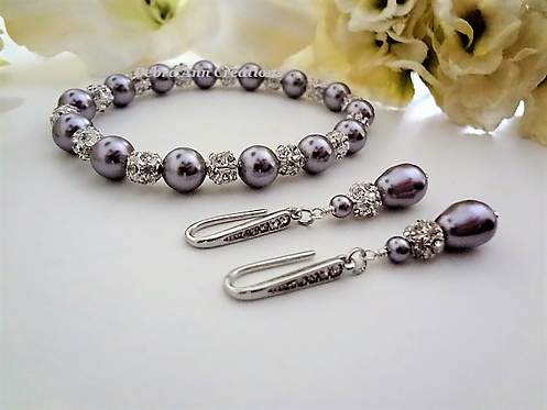 Swarovski Pearl and Crystal Wedding Bracelet and TearDrop Earrings Set