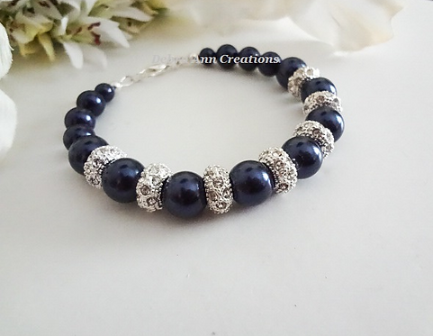 Navy Blue Pearl and Crystal Pave Wedding Bracelet BRPL3005