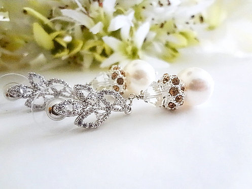Pearl and Champagne Pave Crystal Bridal Earrings BRER4006