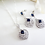 Thumbnail: Sapphire Cubic Zirconia Teardrop Pendant Wedding Necklace and Earrings Set