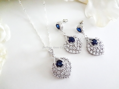 Sapphire Cubic Zirconia Teardrop Pendant Wedding Necklace and Earrings Set