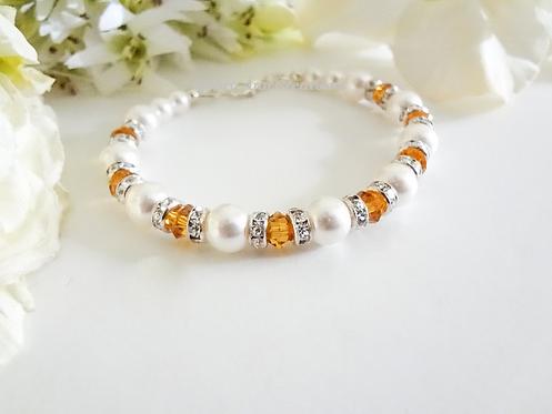 Pearl and Topaz Crystal Clasp Bracelet BRTHBR1013