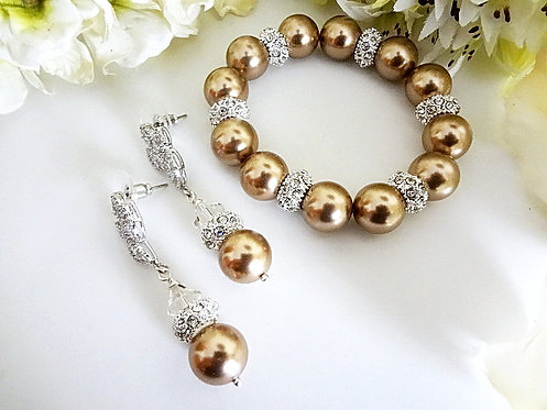 Champagne Pearl and Crystal Bridal Bracelet Set BRSTPL2007