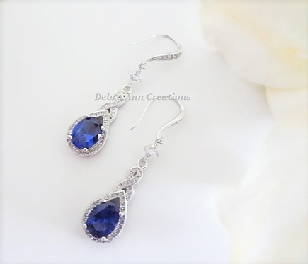 Sapphire Cubic Zirconia Teardrop Wedding Earrings