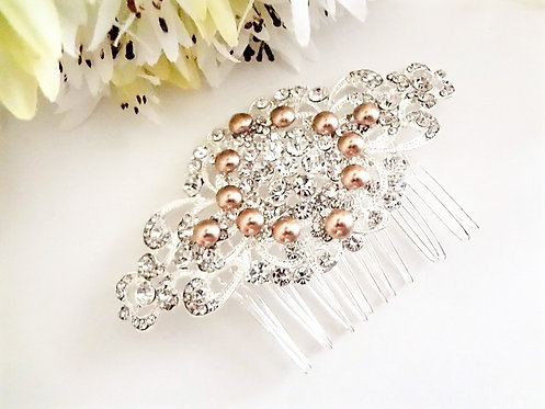 Pearl and Rhinestone Crystal Bridal Hair Comb HRACC8002