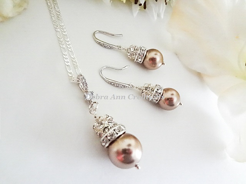 Swarovski Pearl and Crystal Pave Drop Necklace and Earrings Set