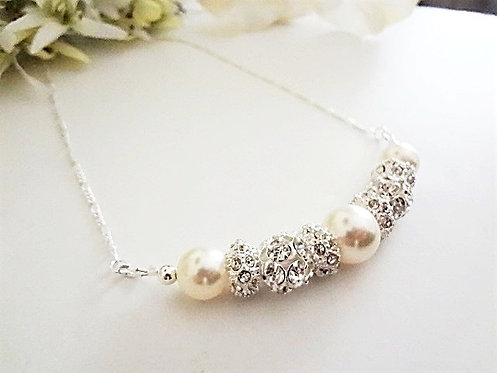 Pearl and Crystal Bib Bridal Necklace BRNK6001