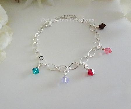 Crystal Bicone Mothers Charm Bracelet MBR9007