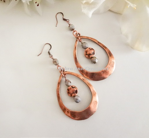 Long Copper Teardrop Boho Earrings
