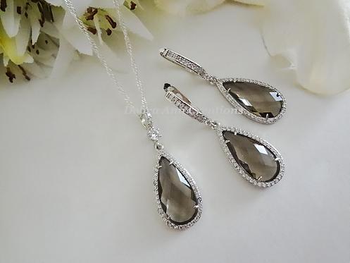 Grey Crystal Teardrop Necklace and Earrings BRNKST5022