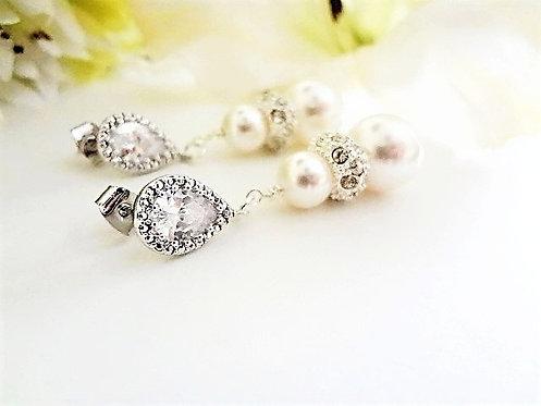 Swarovski Pearl and Crystal Bridal Drop Earrings