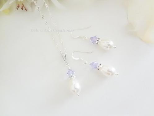Pearl and Crystal Teardrop Birthstone Jewelry Set BRTHNKST1011