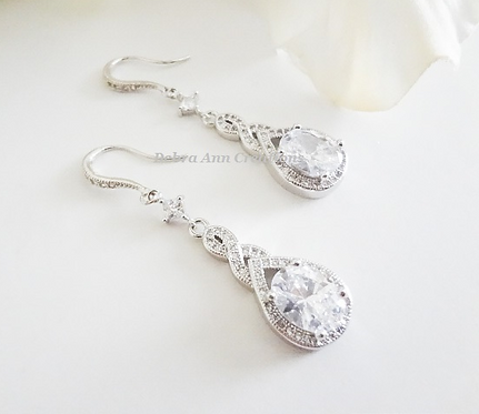 Cubic Zirconia Long Teardrop Wedding Earrings